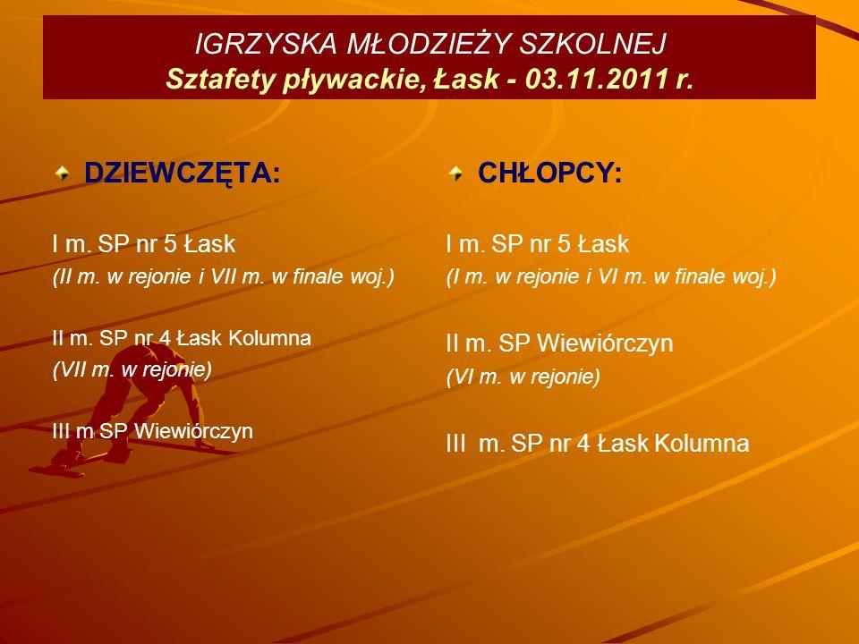 IGRZYSKA MŁODZIEŻY SZKOLNEJ Sztafety pływackie, Łask - 03.11.2011 r.