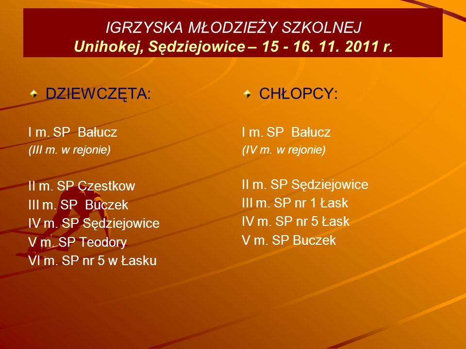IGRZYSKA MŁODZIEŻY SZKOLNEJ Unihokej, Sędziejowice – 15 - 16.