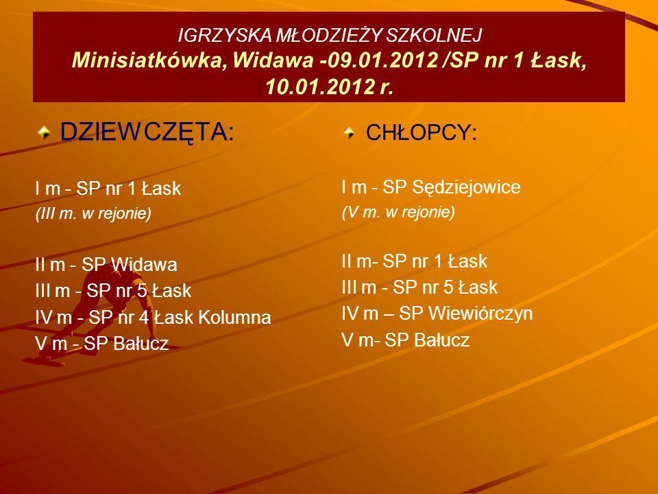 IGRZYSKA MŁODZIEŻY SZKOLNEJ Minisiatkówka, Widawa -09.01.2012 /SP nr 1 Łask, 10.01.2012 r.