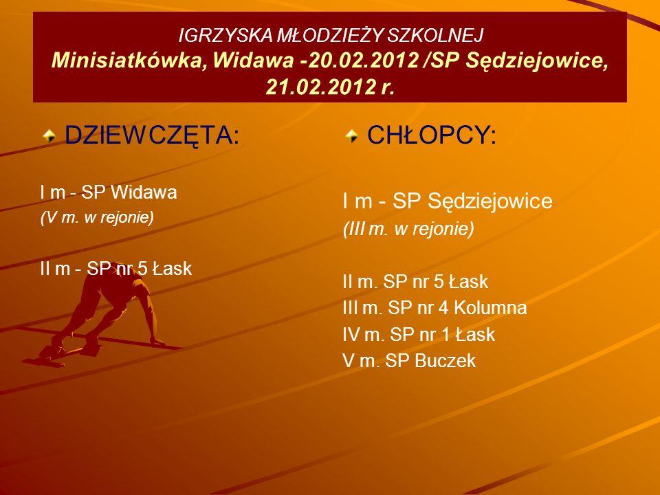 IGRZYSKA MŁODZIEŻY SZKOLNEJ Minisiatkówka, Widawa -20.02.2012 /SP Sędziejowice, 21.02.2012 r.