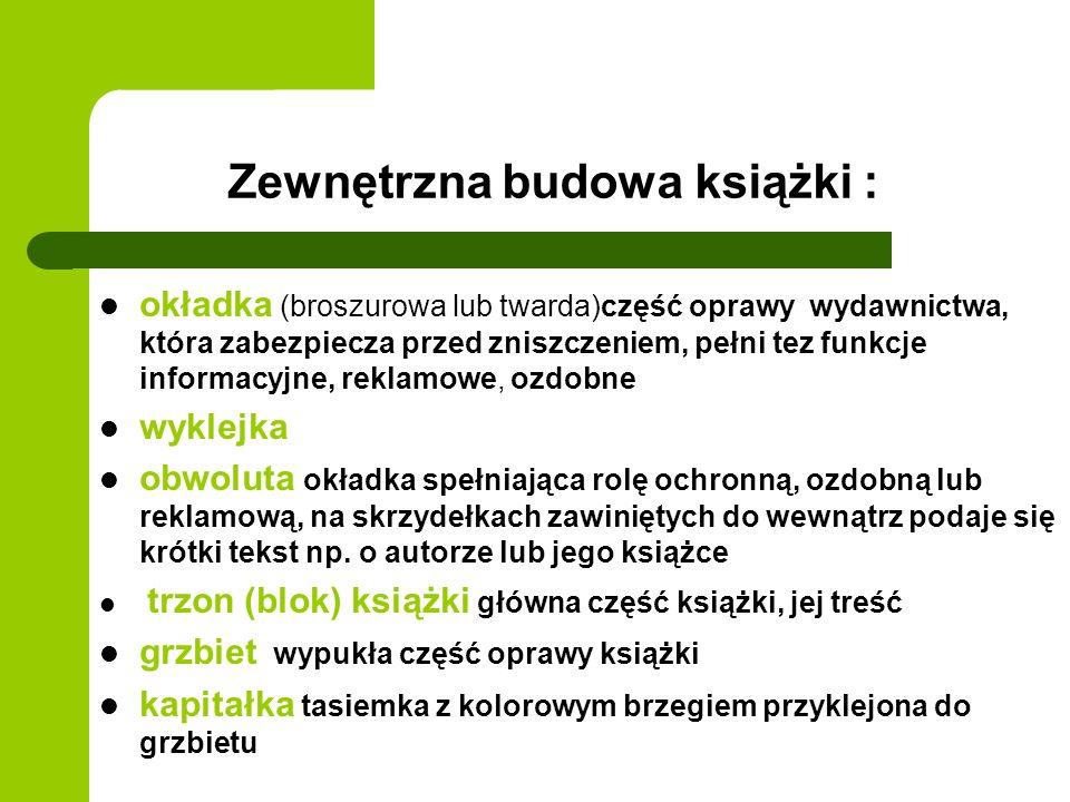 Wewnętrzna budowa książki tytulatura (tj.