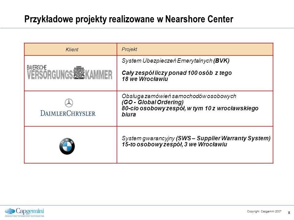 CE v5.6 Copyright Capgemini 2007 8 Przykładowe projekty realizowane w Nearshore Center Klient Projekt System Ubezpieczeń Emerytalnych (BVK) Cały zespó