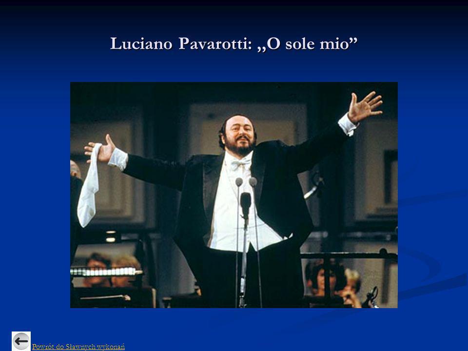 Luciano Pavarotti:,,O sole mio Powrót do Sławnych wykonań