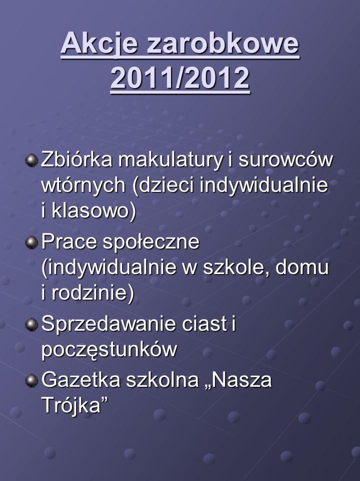 Akcje zarobkowe 2011/2012 Zbiórka makulatury i surowców wtórnych (dzieci indywidualnie i klasowo) Prace społeczne (indywidualnie w szkole, domu i rodz