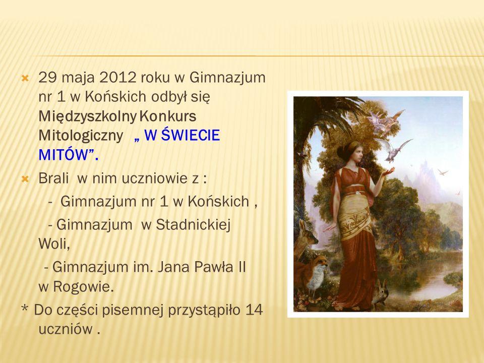 29 maja 2012 roku w Gimnazjum nr 1 w Końskich odbył się Międzyszkolny Konkurs Mitologiczny W ŚWIECIE MITÓW.