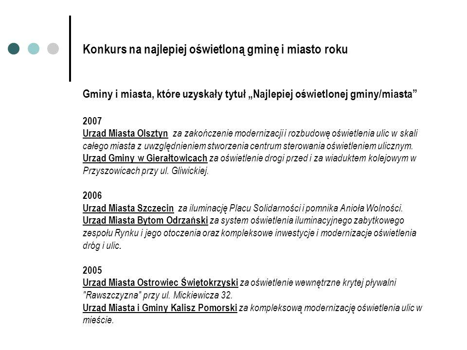 Konkurs na najlepiej oświetloną gminę i miasto roku Gminy i miasta, które uzyskały tytuł Najlepiej oświetlonej gminy/miasta 2007 Urząd Miasta Olsztyn