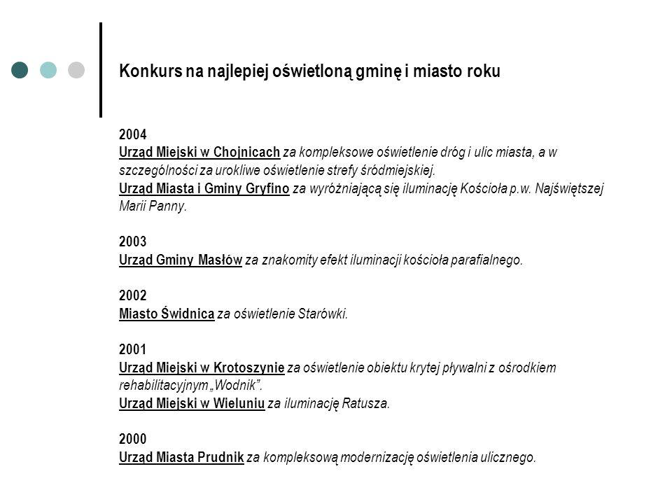 Konkurs na najlepiej oświetloną gminę i miasto roku 2004 Urząd Miejski w Chojnicach za kompleksowe oświetlenie dróg i ulic miasta, a w szczególności z