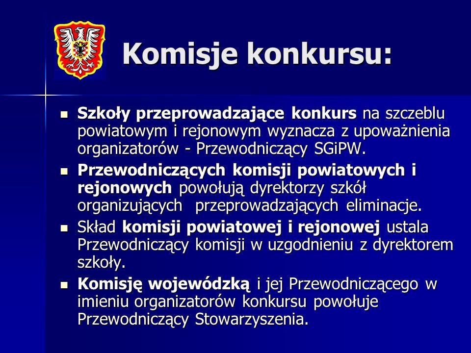 Komisje konkursu: Szkoły przeprowadzające konkurs na szczeblu powiatowym i rejonowym wyznacza z upoważnienia organizatorów - Przewodniczący SGiPW. Szk