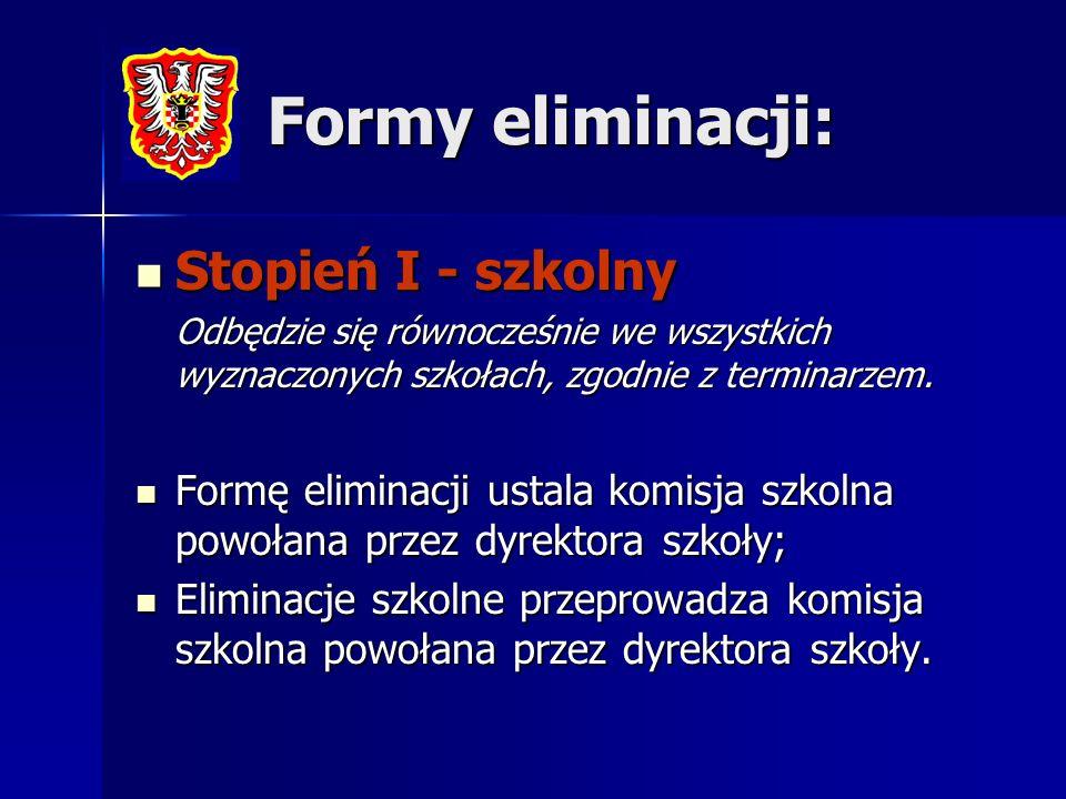 Formy eliminacji: Stopień I - szkolny Stopień I - szkolny Odbędzie się równocześnie we wszystkich wyznaczonych szkołach, zgodnie z terminarzem. Formę