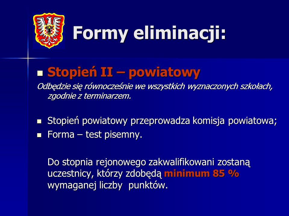 Formy eliminacji: Stopień II – powiatowy Stopień II – powiatowy Odbędzie się równocześnie we wszystkich wyznaczonych szkołach, zgodnie z terminarzem.