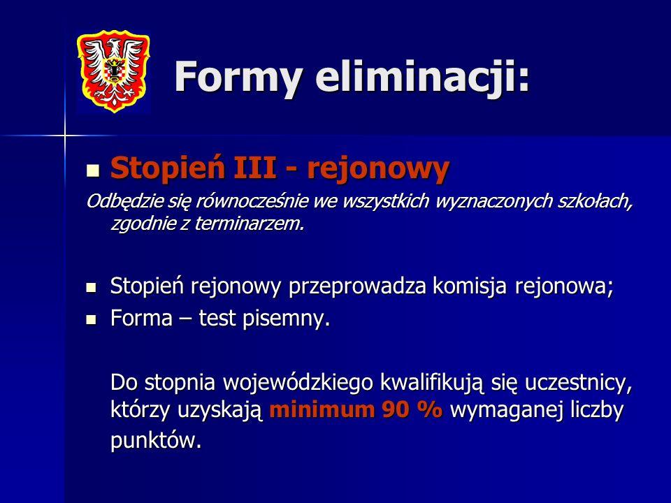 Formy eliminacji: Stopień III - rejonowy Stopień III - rejonowy Odbędzie się równocześnie we wszystkich wyznaczonych szkołach, zgodnie z terminarzem.