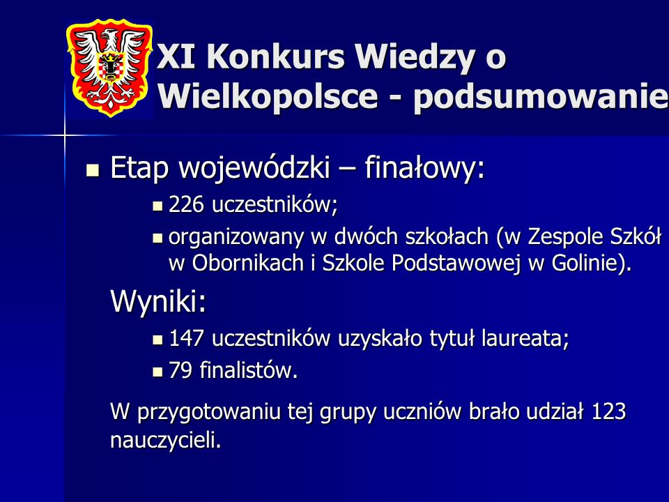 XI Konkurs Wiedzy o Wielkopolsce - podsumowanie Etap wojewódzki – finałowy: Etap wojewódzki – finałowy: 226 uczestników; 226 uczestników; organizowany
