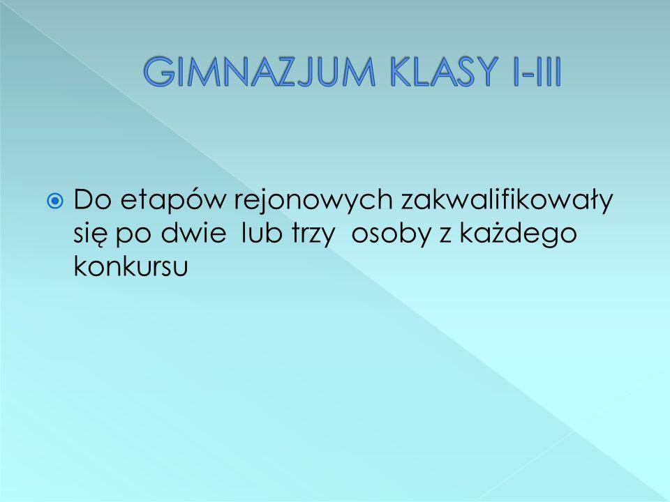 konkursy kuratoryjne z następujących przedmiotów: - j.polski - matematyka - fizyka - biologia - chemia - historia