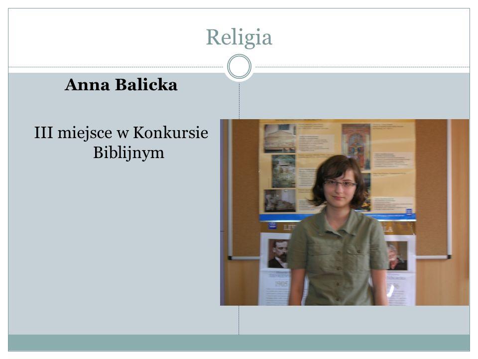 Religia Anna Balicka III miejsce w Konkursie Biblijnym