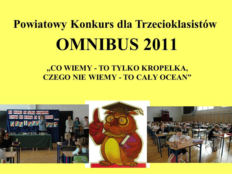 OMNIBUS 2011 Powiatowy Konkurs dla Trzecioklasistów CO WIEMY - TO TYLKO KROPELKA, CZEGO NIE WIEMY - TO CAŁY OCEAN