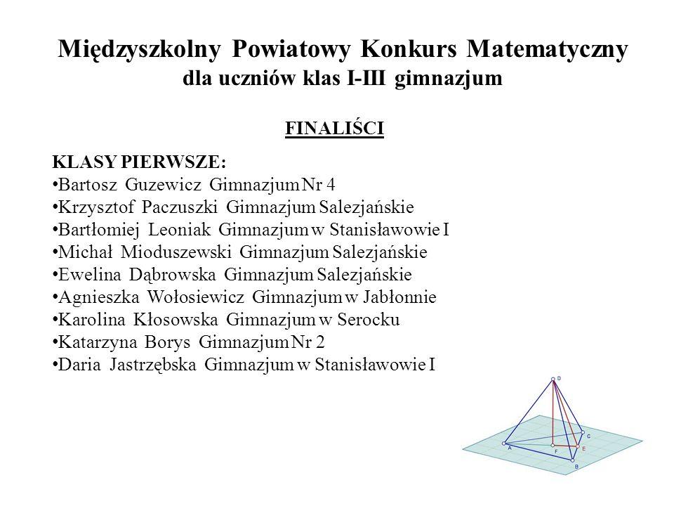 FINALIŚCI KLASY PIERWSZE: Bartosz Guzewicz Gimnazjum Nr 4 Krzysztof Paczuszki Gimnazjum Salezjańskie Bartłomiej Leoniak Gimnazjum w Stanisławowie I Mi