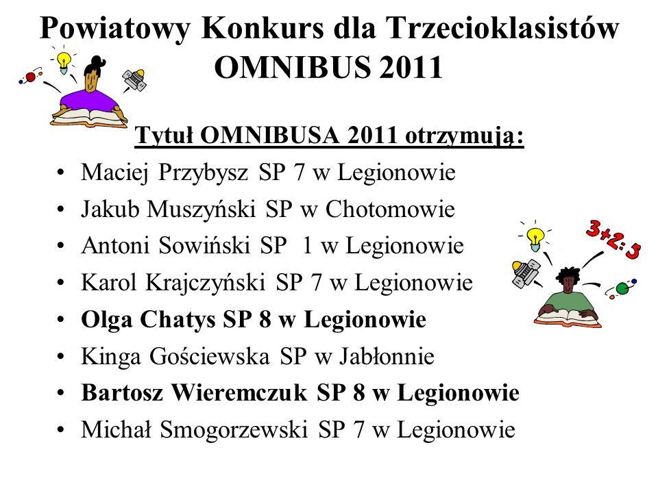 Powiatowy Konkurs dla Trzecioklasistów OMNIBUS 2011 Tytuł OMNIBUSA 2011 otrzymują: Maciej Przybysz SP 7 w Legionowie Jakub Muszyński SP w Chotomowie A