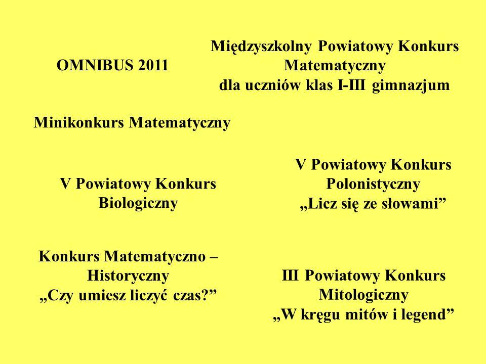 OMNIBUS 2011 Międzyszkolny Powiatowy Konkurs Matematyczny dla uczniów klas I-III gimnazjum Minikonkurs Matematyczny V Powiatowy Konkurs Polonistyczny