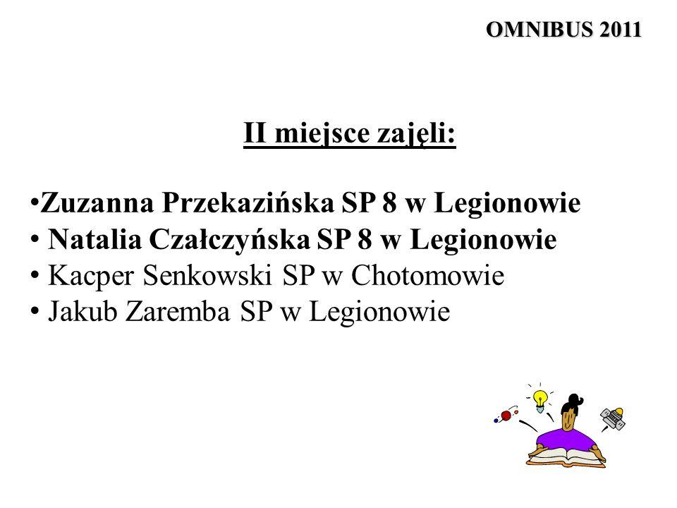 II miejsce zajęli: Zuzanna Przekazińska SP 8 w Legionowie Natalia Czałczyńska SP 8 w Legionowie Kacper Senkowski SP w Chotomowie Jakub Zaremba SP w Le