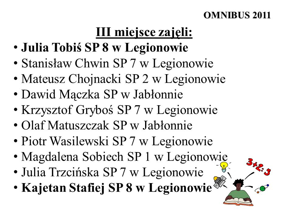 III miejsce zajęli: Julia Tobiś SP 8 w Legionowie Stanisław Chwin SP 7 w Legionowie Mateusz Chojnacki SP 2 w Legionowie Dawid Mączka SP w Jabłonnie Kr