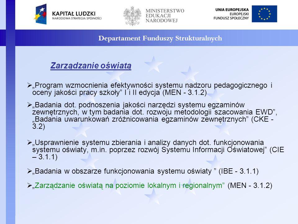 Departament Funduszy Strukturalnych Uczenie się przez całe życie Opracowanie bilansu kwalifikacji i kompetencji dostępnych na rynku pracy w Polsce oraz modelu Krajowych Ram Kwalifikacji (MEN - 3.4.1) Ogólnopolskie kampanie upowszechniające model uczenia się przez całe życie (MEN – 3.4.2) Model systemu wdrażania i upowszechniania kształcenia na odległość w uczeniu się przez całe życie (KOWEZiU – 3.4.2) Opracowanie modelu doradztwa zawodowego oraz internetowego systemu poradnictwa edukacyjno – zawodowego (KOWEZiU - 3.4.2) Narodowy System Edukacji Wirtualnej Scholaris (CODN – 3.3.3)