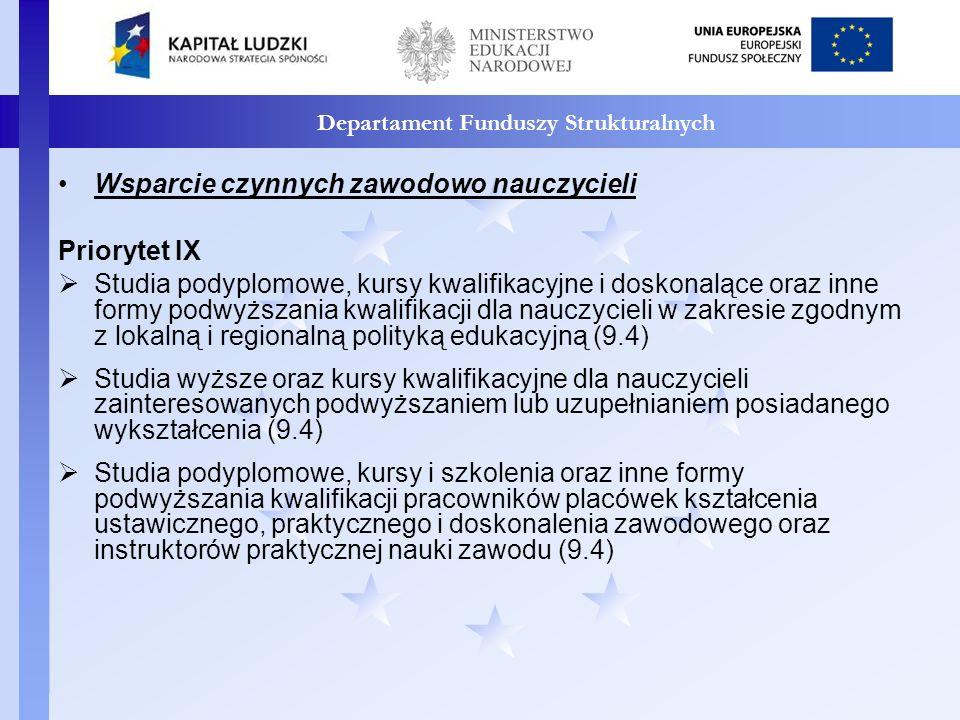 Departament Funduszy Strukturalnych Priorytet III oDoskonalenie oraz wdrożenie podstawy programowej wychowania przedszkolnego oraz kształcenia ogólnego (3.3.2) oPonadregionalne programy rozwijania umiejętności uczniów w zakresie kompetencji kluczowych, ze szczególnym uwzględnieniem nauk matematyczno – przyrodniczych, technologii informacyjno – komunikacyjnych (ICT), języków obcych, przedsiębiorczości (3.4.3) Priorytet IX oProgramy rozwojowe szkół, w tym dodatkowe zajęcia rozwijające kompetencje kluczowe, ze szczególnym uwzględnieniem ICT, języków obcych, przedsiębiorczości, nauk matematyczno – przyrodniczych (kształcenie ogólne 9.1.2,kształcenie zawodowe 9.2) oProgramy indywidualizacji procesu nauczania i wychowania uczniów klas I-III szkoły podstawowej (9.1.2)