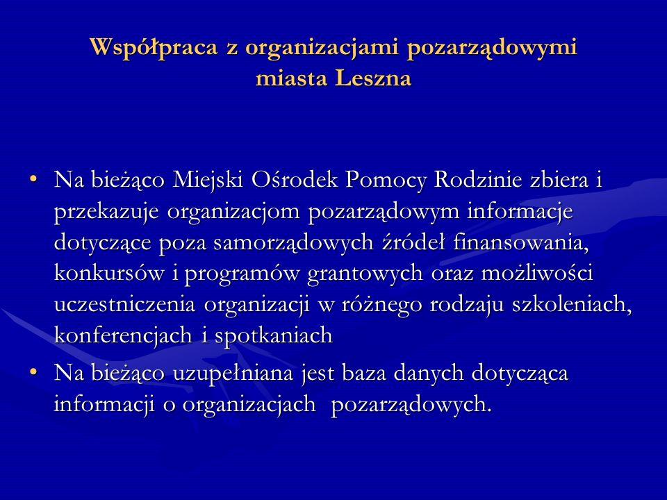 Współpraca z organizacjami pozarządowymi miasta Leszna Na bieżąco Miejski Ośrodek Pomocy Rodzinie zbiera i przekazuje organizacjom pozarządowym inform