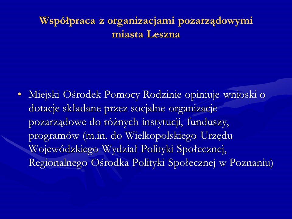 Współpraca z organizacjami pozarządowymi miasta Leszna Miejski Ośrodek Pomocy Rodzinie opiniuje wnioski o dotacje składane przez socjalne organizacje