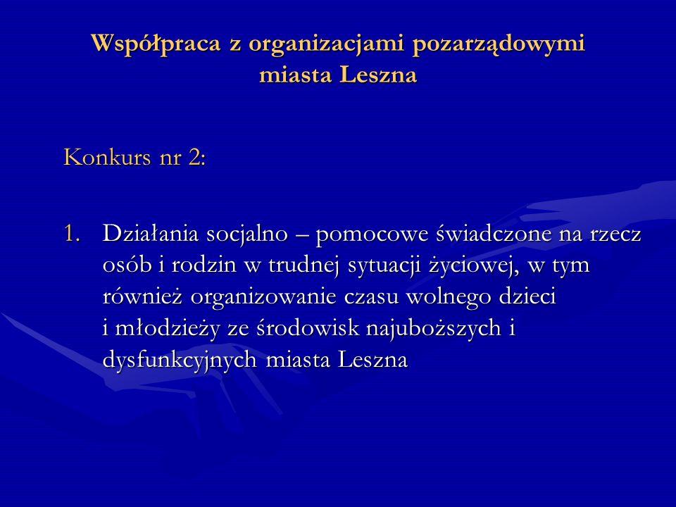 Współpraca z organizacjami pozarządowymi miasta Leszna 2.Działania świadczone na rzecz osób niepełnosprawnych i przewlekle chorych, osób starszych i osamotnionych miasta Leszna 3.Działania związane z pozyskiwaniem i nieodpłatną dystrybucją żywności, odzieży, sprzętów gospodarstwa domowego oraz nieodpłatnego wydawania posiłków osobom bezdomnym i ubogim z miasta Leszna