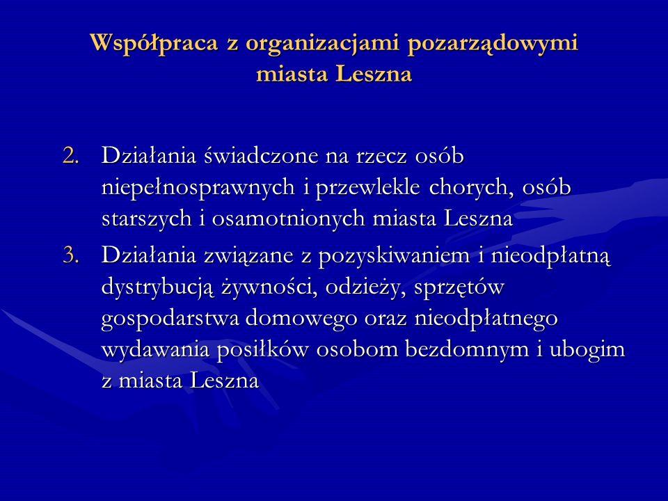Współpraca z organizacjami pozarządowymi miasta Leszna 2.Działania świadczone na rzecz osób niepełnosprawnych i przewlekle chorych, osób starszych i o