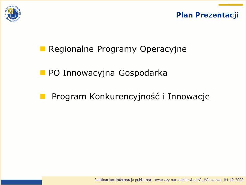 Seminarium Informacja publiczna: towar czy narzędzie władzy?, Warszawa, 0 4.1 2.2008 Regionalne Programy Operacyjne 2007 - 2013 16 Regionalnych Programów Operacyjnych – 24,9% całości środków na lata 2007 - 2013 ( 16,6 mld EUR ) Wartości podane dla priorytetów RPO zawierających komponent ICT Wsparcie dla projektów dotyczących PSI - GIS Wielkość wsparcia: do 85 % zgodnie z mapą pomocy regionalnej i pomocy de minimis 37,2 70 85,4 67,1 69,4 119,9 30,2 95 59,9 40,2 190,4 34,1 62,2 194,6 46 205,1 Kwoty w mln EUR Źródło: opracowanie własne SMWI