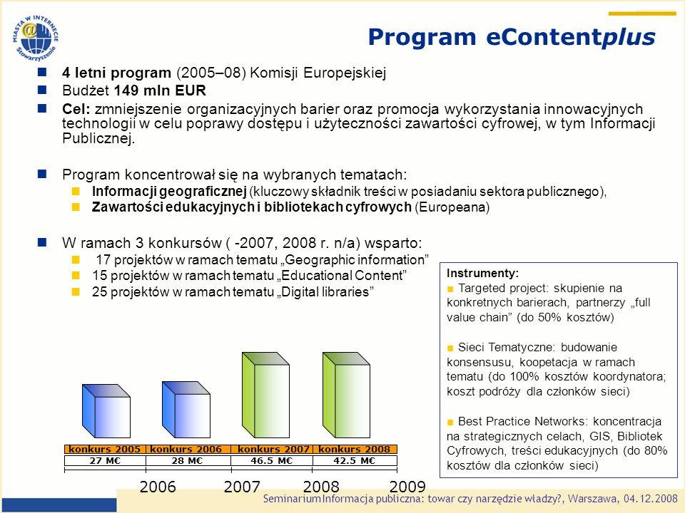 Seminarium Informacja publiczna: towar czy narzędzie władzy?, Warszawa, 0 4.1 2.2008 Program Ramowy na Rzecz Konkurencyjności i Innowacji 2007-2013 1.