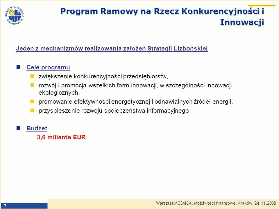 Warsztat MOSAICA, Możliwości finansowe, Kraków, 24.11.2008 8 Program na Rzecz Przedsiębiorczości i Innowacji (Entrepreneurship and Innovation Programme EIP) - działania na rzecz przedsiębiorczości, MŚP, konkurencyjności i innowacji.
