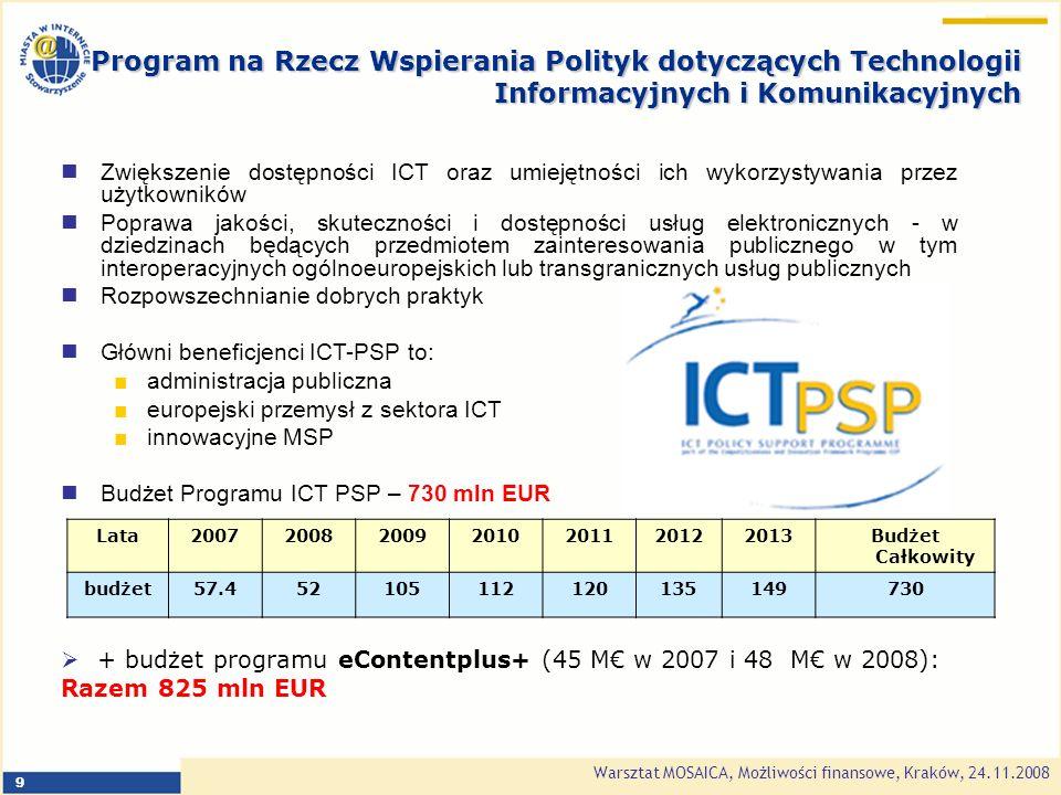 Warsztat MOSAICA, Możliwości finansowe, Kraków, 24.11.2008 9 Lata2007200820092010201120122013Budżet Całkowity budżet57.452105112120135149730 + budżet programu eContentplus+ (45 M w 2007 i 48 M w 2008): Razem 825 mln EUR Zwiększenie dostępności ICT oraz umiejętności ich wykorzystywania przez użytkowników Poprawa jakości, skuteczności i dostępności usług elektronicznych - w dziedzinach będących przedmiotem zainteresowania publicznego w tym interoperacyjnych ogólnoeuropejskich lub transgranicznych usług publicznych Rozpowszechnianie dobrych praktyk Główni beneficjenci ICT-PSP to: administracja publiczna europejski przemysł z sektora ICT innowacyjne MSP Budżet Programu ICT PSP – 730 mln EUR Program na Rzecz Wspierania Polityk dotyczących Technologii Informacyjnych i Komunikacyjnych