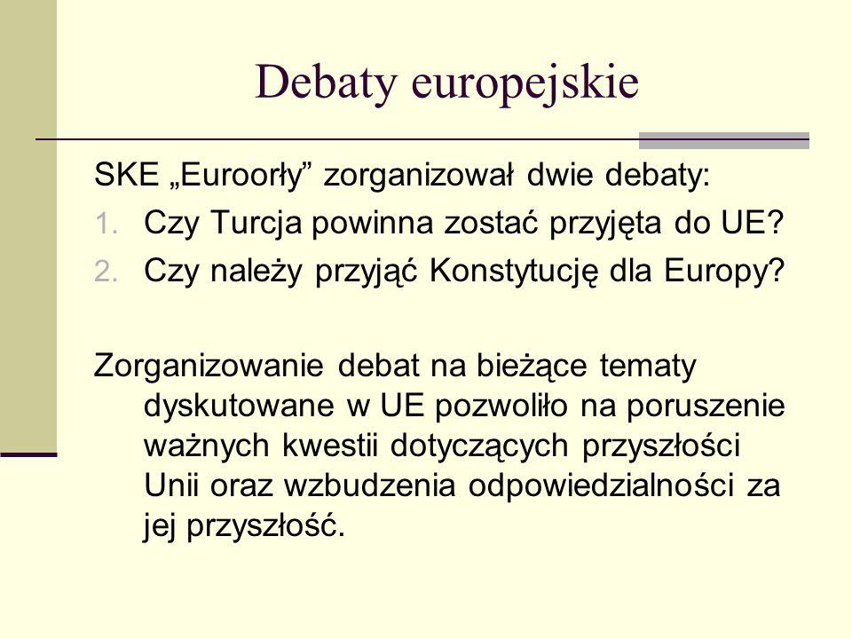 Debaty europejskie SKE Euroorły zorganizował dwie debaty: 1. Czy Turcja powinna zostać przyjęta do UE? 2. Czy należy przyjąć Konstytucję dla Europy? Z