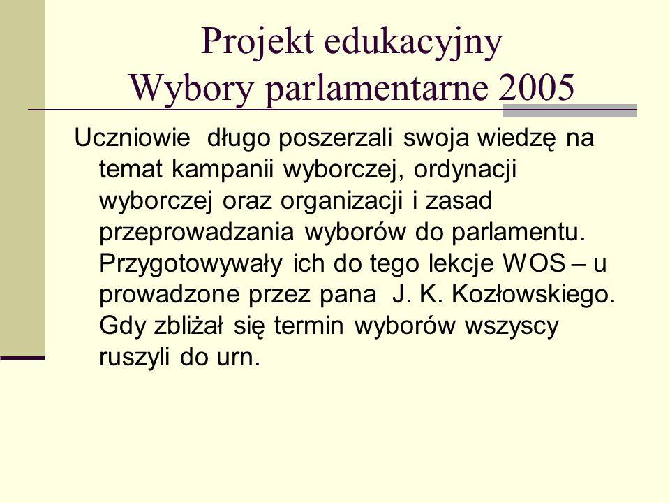 Projekt edukacyjny Wybory parlamentarne 2005 Uczniowie długo poszerzali swoja wiedzę na temat kampanii wyborczej, ordynacji wyborczej oraz organizacji