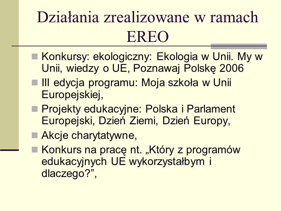 Działania zrealizowane w ramach EREO Debaty europejskie, Uroczystości rocznicowe: 3 maja, 11 listopada, rocznica śmierci Sienkiewicza, Młodzieżowe wybory parlamentarne, prezydenckie i szkolne.