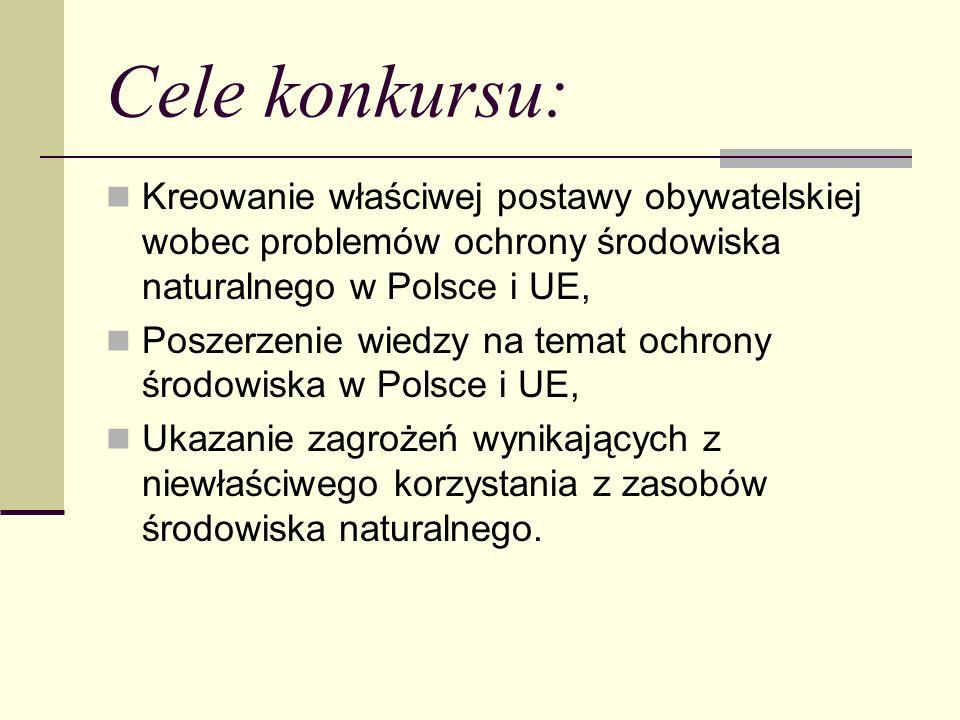 Cele konkursu: Kreowanie właściwej postawy obywatelskiej wobec problemów ochrony środowiska naturalnego w Polsce i UE, Poszerzenie wiedzy na temat och