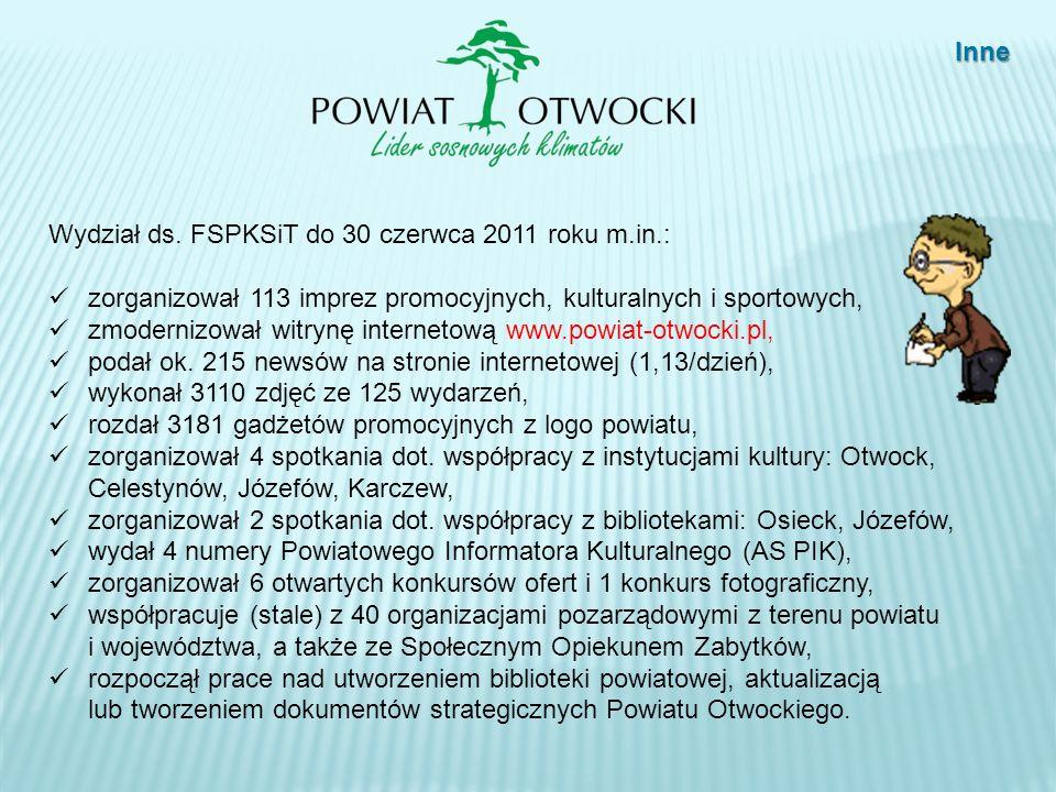 Inne Wydział ds. FSPKSiT do 30 czerwca 2011 roku m.in.: zorganizował 113 imprez promocyjnych, kulturalnych i sportowych, zmodernizował witrynę interne