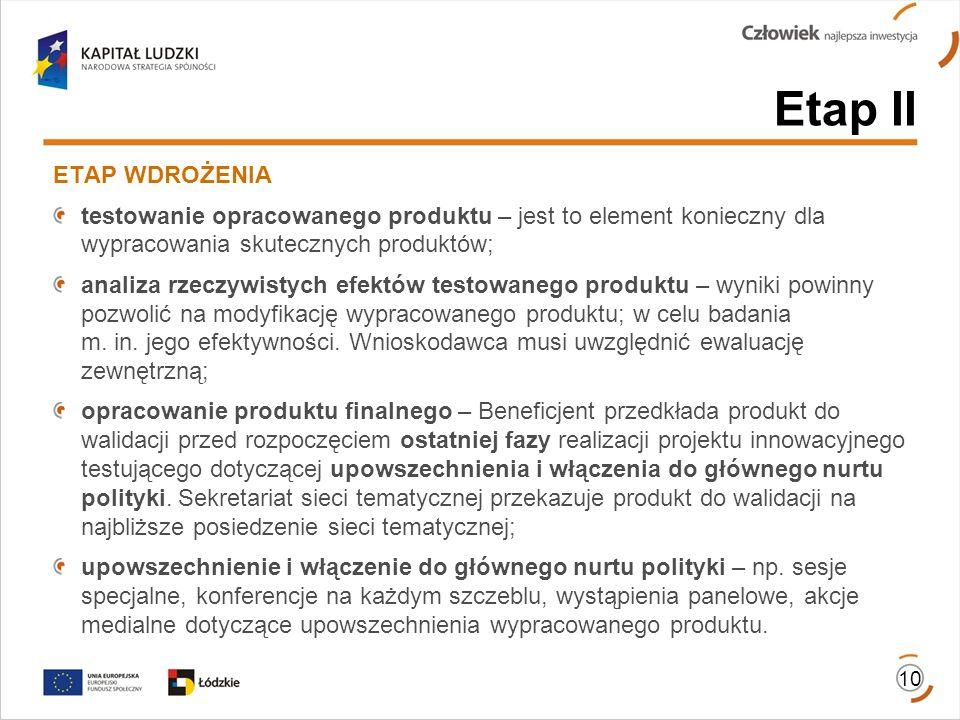 10 ETAP WDROŻENIA testowanie opracowanego produktu – jest to element konieczny dla wypracowania skutecznych produktów; analiza rzeczywistych efektów t