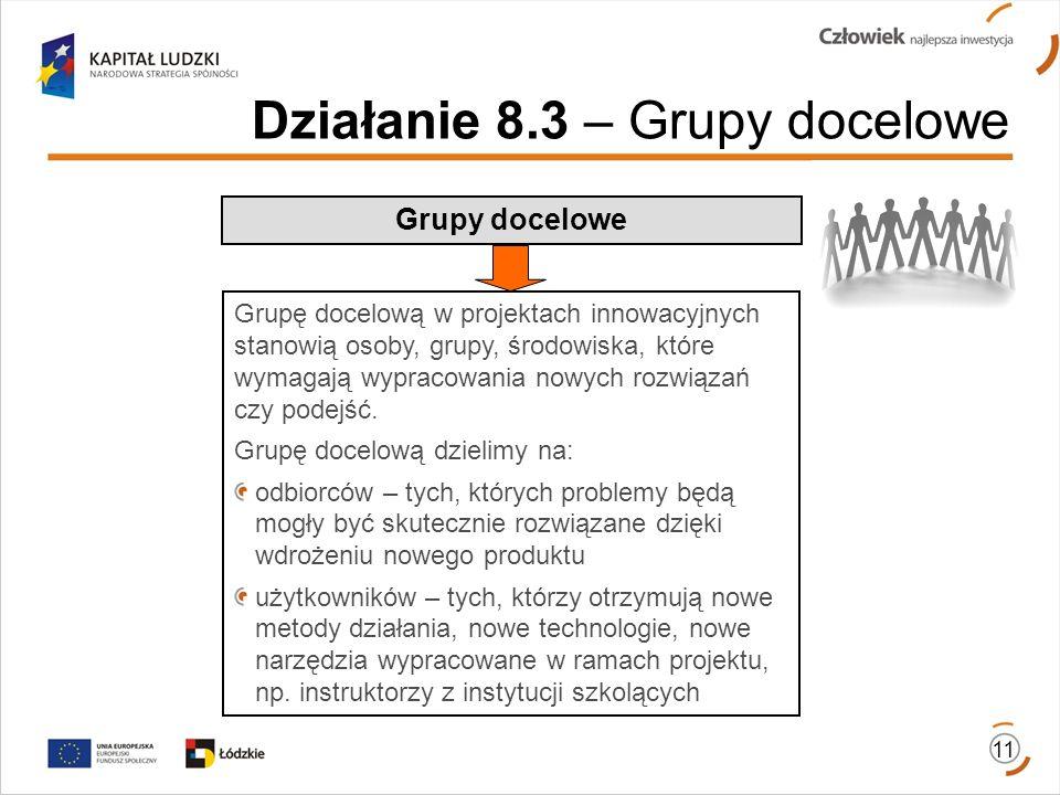 Działanie 8.3 – Grupy docelowe Grupy docelowe 11 Grupę docelową w projektach innowacyjnych stanowią osoby, grupy, środowiska, które wymagają wypracowa