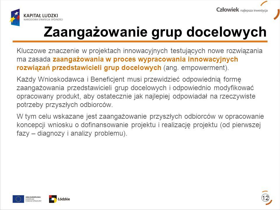 12 Zaangażowanie grup docelowych Kluczowe znaczenie w projektach innowacyjnych testujących nowe rozwiązania ma zasada zaangażowania w proces wypracowa