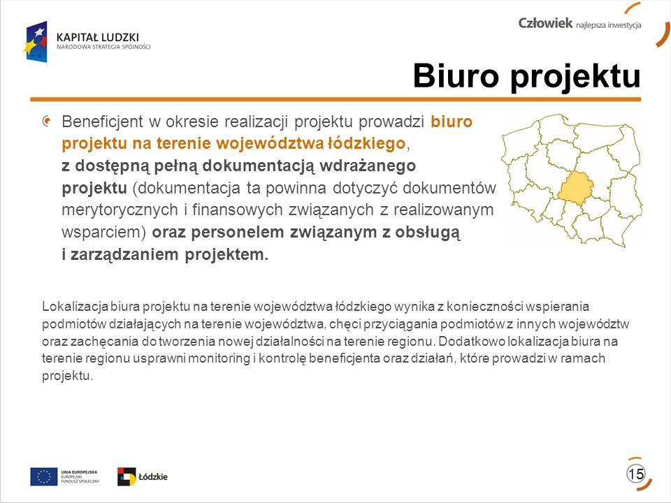 Biuro projektu Beneficjent w okresie realizacji projektu prowadzi biuro projektu na terenie województwa łódzkiego, z dostępną pełną dokumentacją wdraż