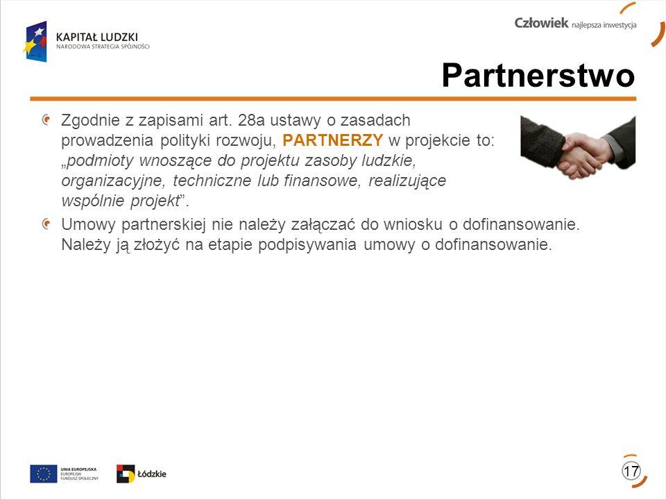 Partnerstwo 17 Zgodnie z zapisami art. 28a ustawy o zasadach prowadzenia polityki rozwoju, PARTNERZY w projekcie to:podmioty wnoszące do projektu zaso
