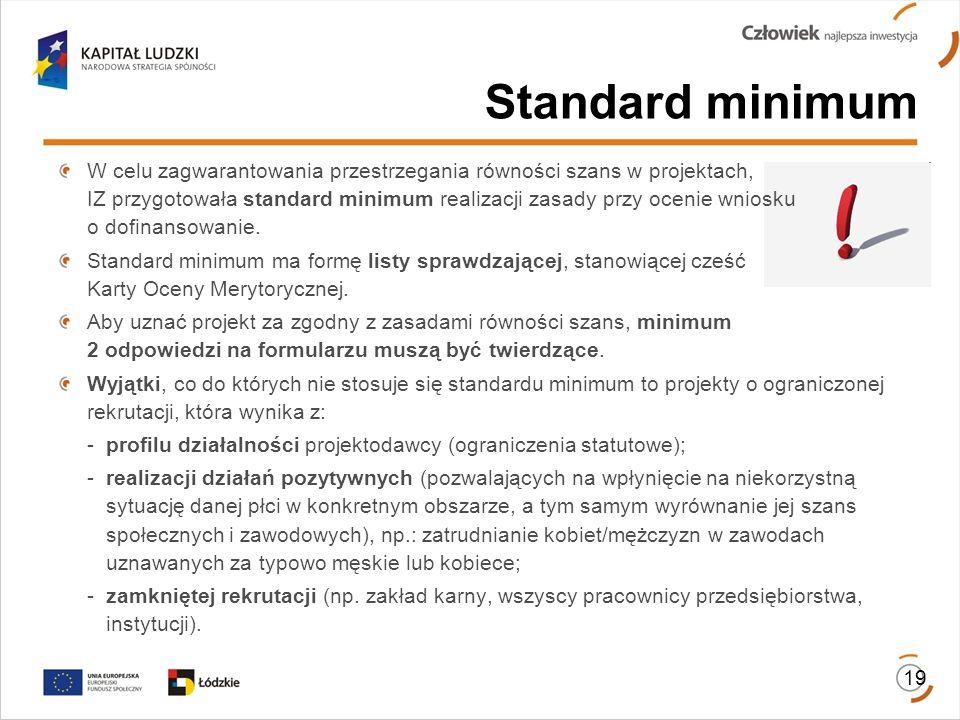W celu zagwarantowania przestrzegania równości szans w projektach, IZ przygotowała standard minimum realizacji zasady przy ocenie wniosku o dofinansow