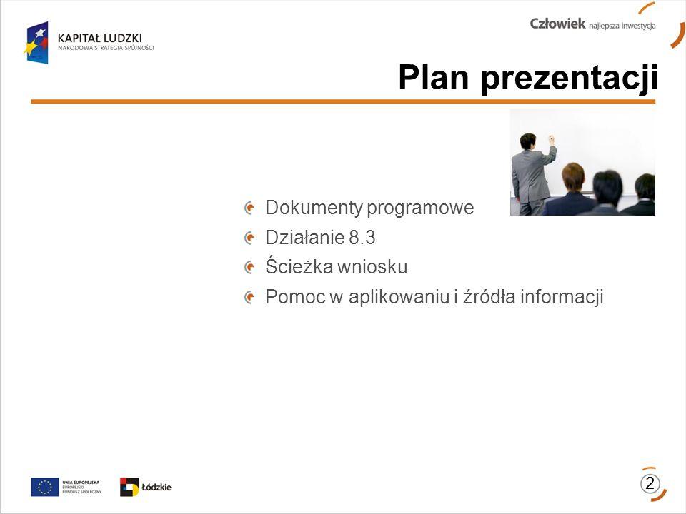 2 Dokumenty programowe Działanie 8.3 Ścieżka wniosku Pomoc w aplikowaniu i źródła informacji Plan prezentacji