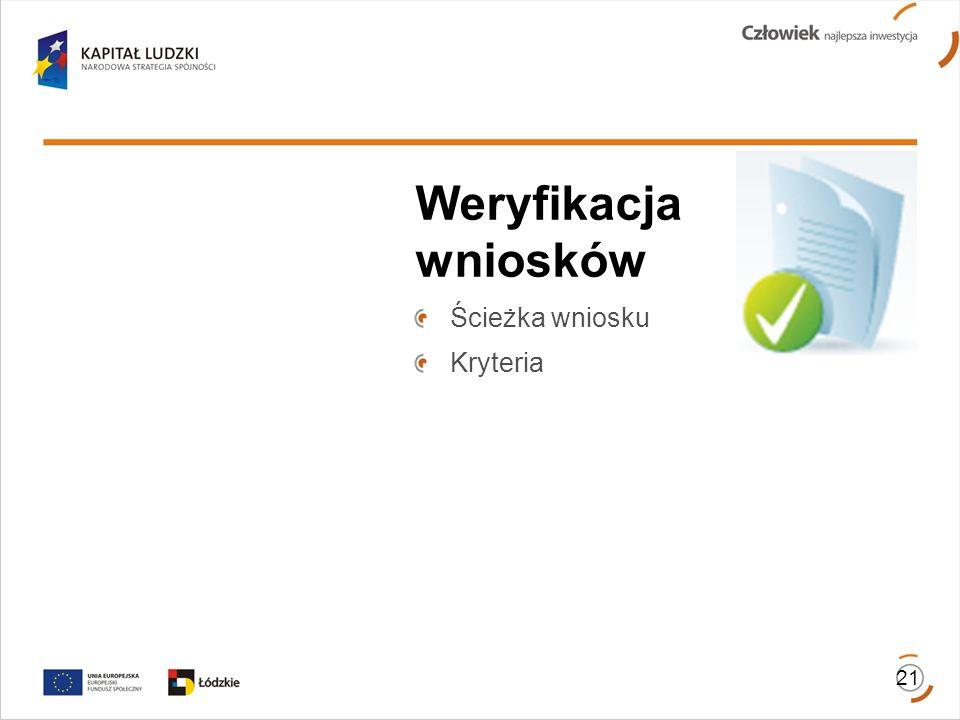 Weryfikacja wniosków Ścieżka wniosku Kryteria 21