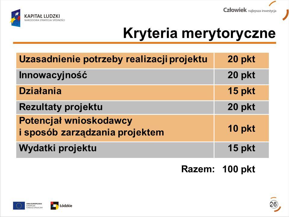 Kryteria merytoryczne Razem: 100 pkt 26 Uzasadnienie potrzeby realizacji projektu20 pkt Innowacyjność20 pkt Działania15 pkt Rezultaty projektu20 pkt P