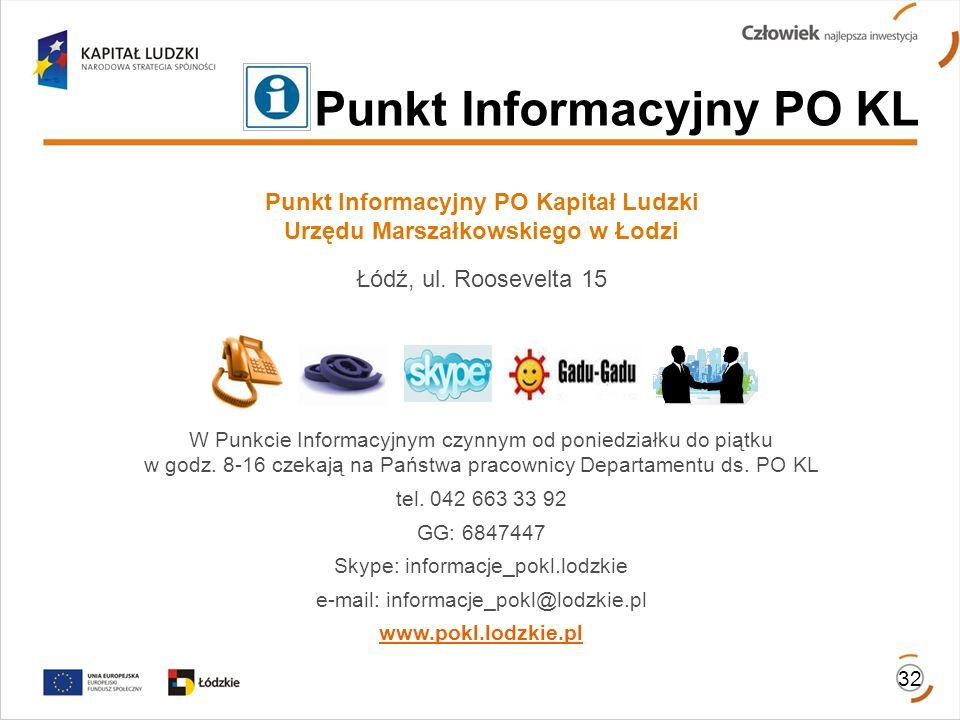 Punkt Informacyjny PO Kapitał Ludzki Urzędu Marszałkowskiego w Łodzi Łódź, ul. Roosevelta 15 W Punkcie Informacyjnym czynnym od poniedziałku do piątku
