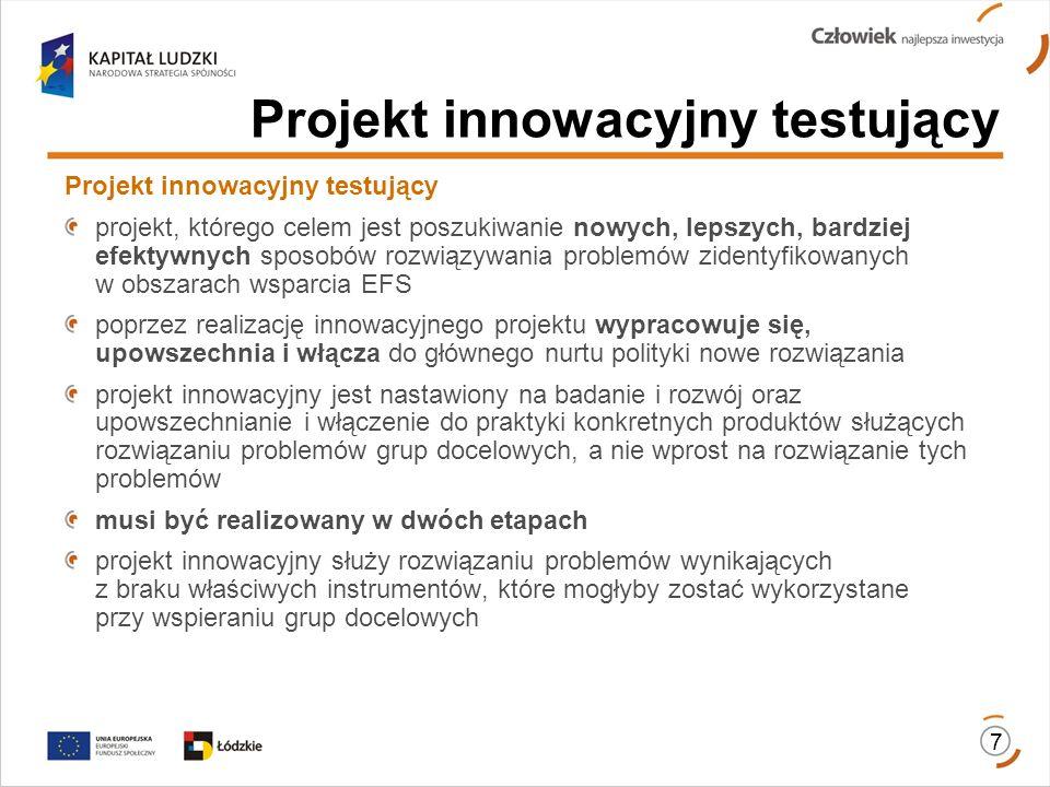 8 Etap I ETAP PRZYGOTOWANIA (czas trwania:3-8 miesięcy) obejmuje: diagnozę i analizę problemu – wypracowanie produktu wymaga zidentyfikowania rzeczywistych potrzeb, problemów i ich przyczyn; projekt innowacyjny powinien opierać się na przeprowadzonych wcześniej badaniach/analizach lub takie badania/analizy przewidywać w pierwszym etapie; tworzenie partnerstwa (jeżeli jest przewidziane) – wspólne wypracowanie reguł i zasad współpracy oraz podziału zadań partnerów nakierowanych na osiągnięcie danego celu/efektów; opracowanie wstępnej wersji produktu oraz strategii wdrażania projektu innowacyjnego, będącej podstawą weryfikacji realizacji pierwszego etapu; od momentu opracowania wstępnej wersji produktu muszą być uwzględnione działania upowszechniające i włączające do głównego nurtu polityki.